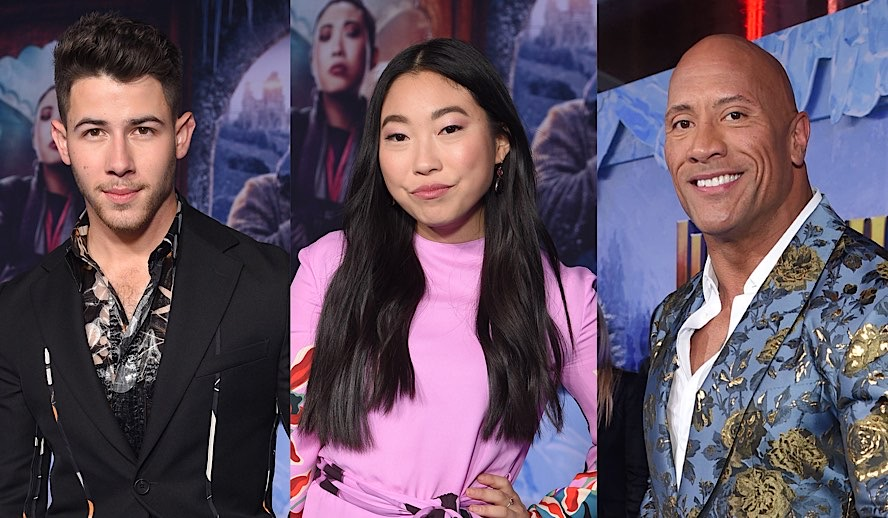 Hollywood Insider's Feature Rendezvous At Premiere of Jumanji, Nick Jonas, Golden Globes Winner Awkwafina, Dwayne Johnson