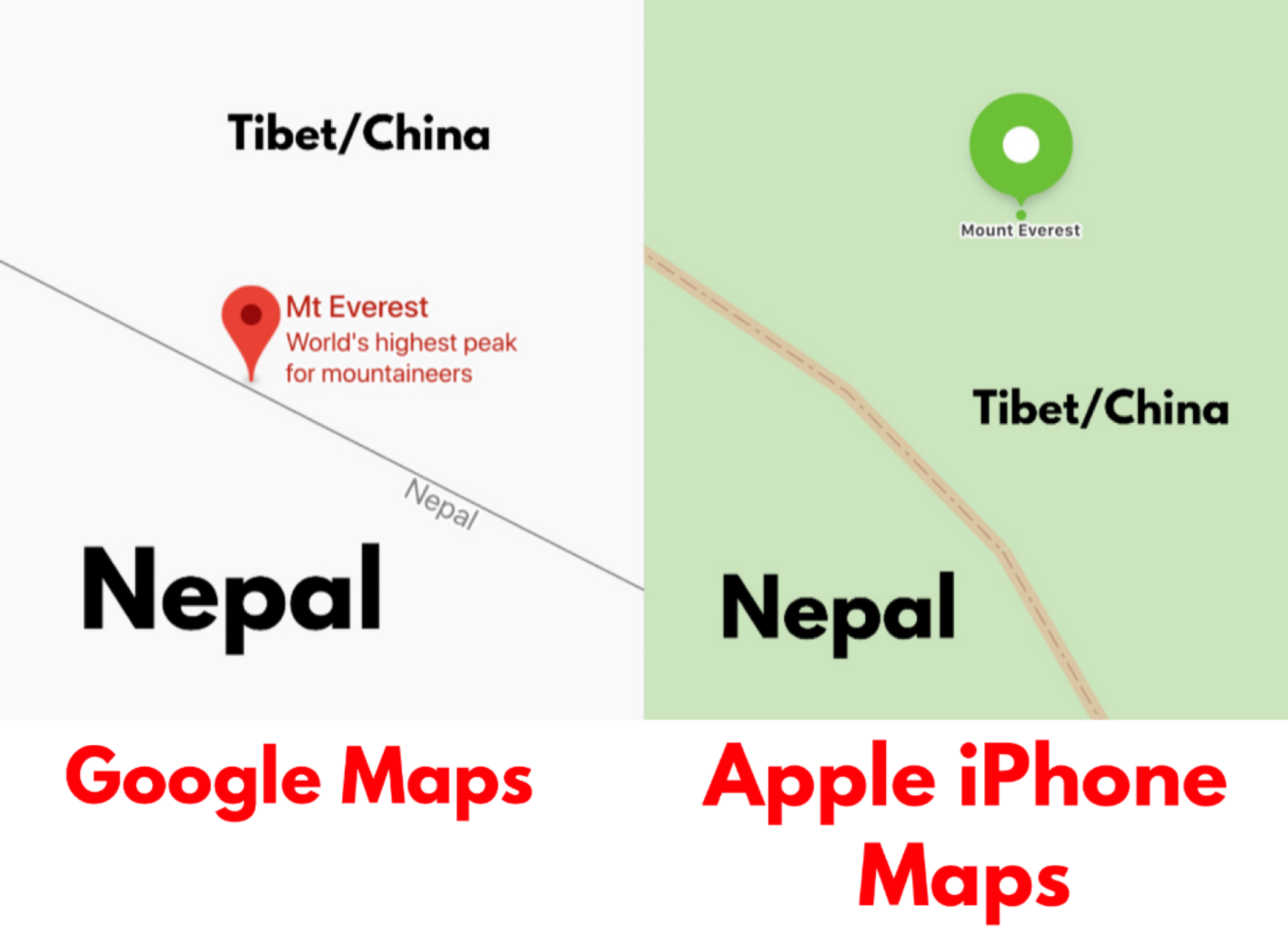 Hollywood Insider Mount Everest Peak is in Nepal, Petition Apple & Google to fix their maps