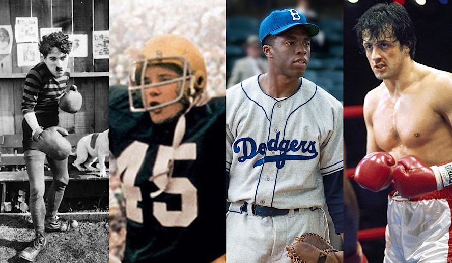 Hollywood Insider History of Sports in Film, Charlie Chaplin, Rudy, Chadwick Boseman, Rocky