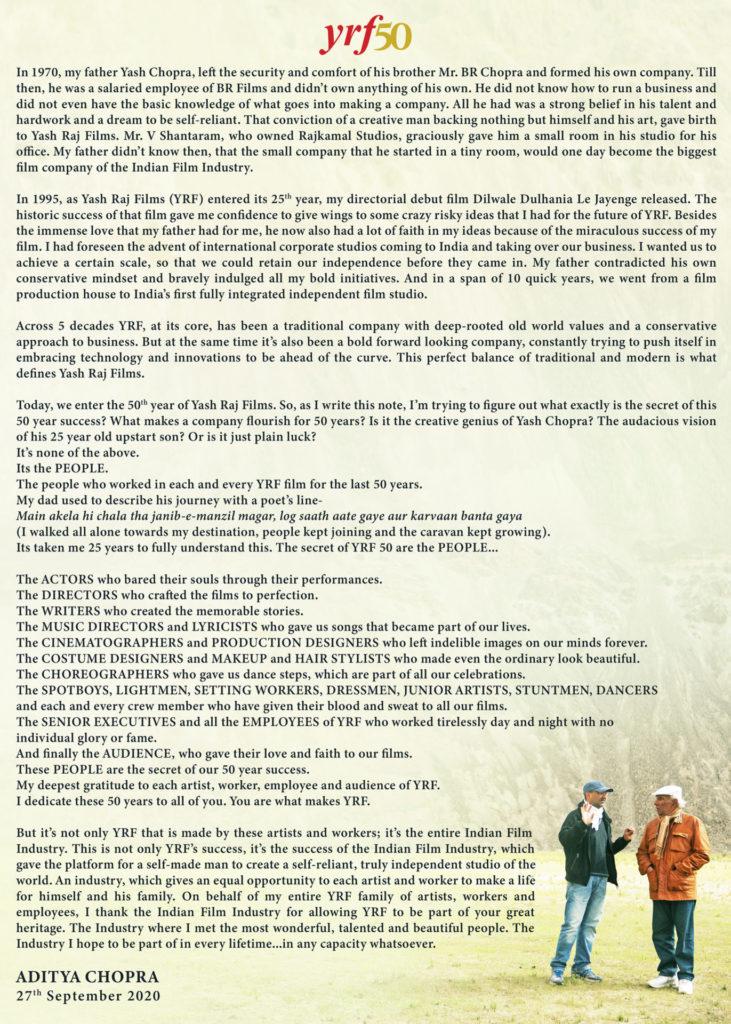Hollywood Insider Yash Raj Films, Yash Chopra, Aditya Chopra Letter