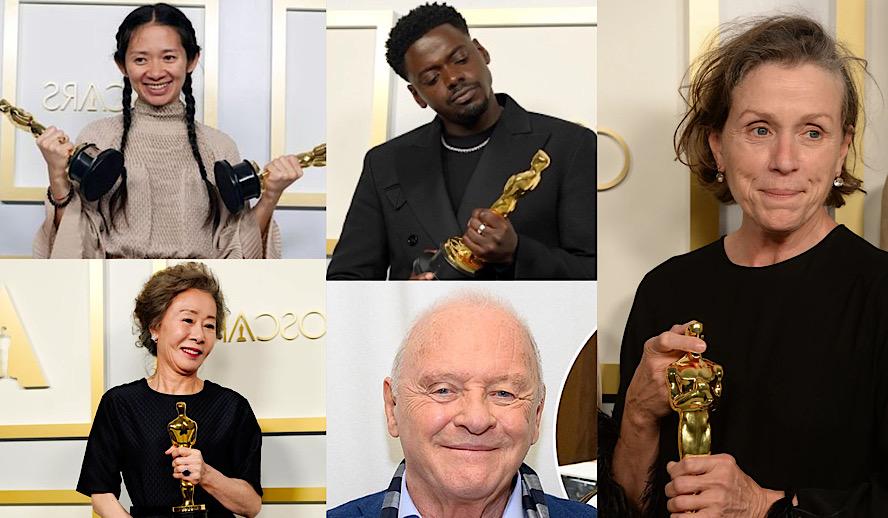 Hollywood Insider Oscars 2021 Winners, 93rd Academy Awards, Chloe Zhao, Nomadland, Anthony Hopkins, Frances McDormand, Daniel Kaluuya, Yuh-jung Youn