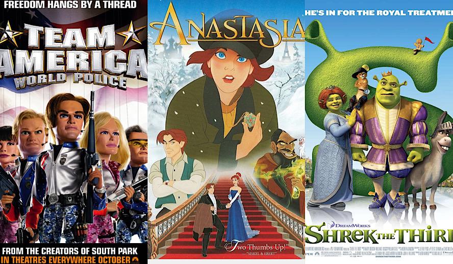 Hollywood Insider Top 10 Non-Disney Animated Movies, Shrek, Anastasia, Team America